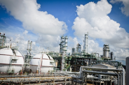 Gas storage spheres tank in petrochemical plant with beautiful sky Editorial
