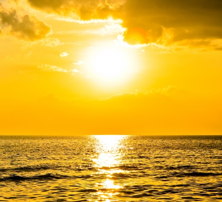 Sunset at sea, may be used as background