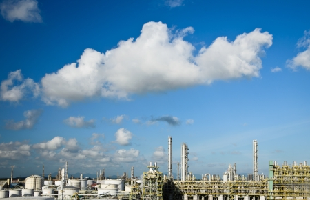 petrochemical plant in beautiful clear sky Stock Photo