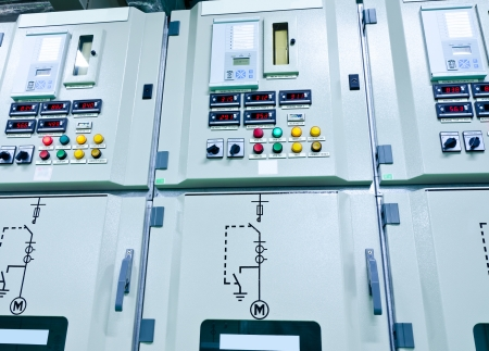 substation: electrical energy  substation in a power plant  Stock Photo