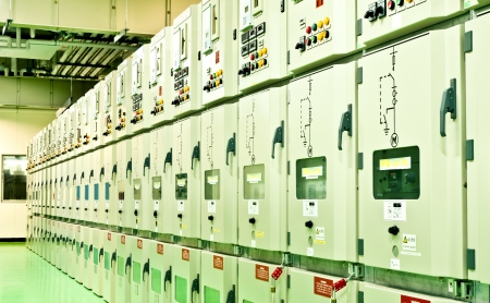 electrical energy  substation in a power plant  Stock Photo