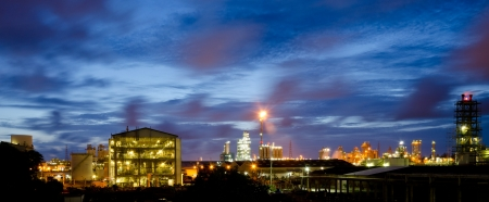 beautiful twilight in petrochemical plant photo