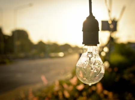 light bulb after rain in morning