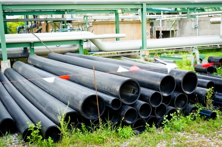 group of pvc pipes for drainage system waiting for use