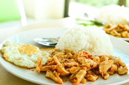 Thai food rice and curry with fried egg photo