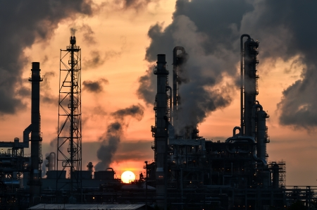 petrochemical plant at dawn