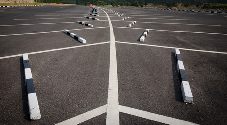 slot car track: empty space of parking lot Stock Photo