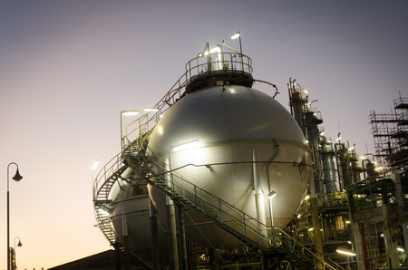 Sphere tank storage gas at dawn petrochemical plant