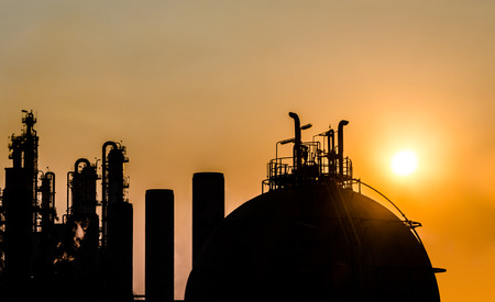 petrochemical plant in silhouette at sunrise
