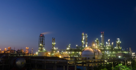 oil and gas: Petrochemical plant at night light,twilight