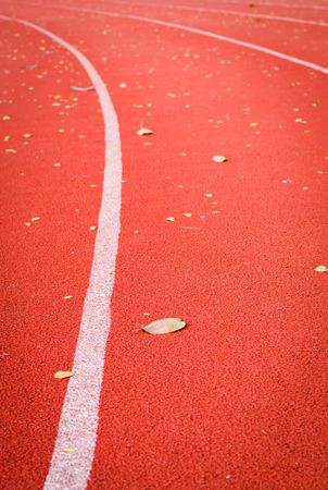 runing: dry leaf on runing track like as problems in life