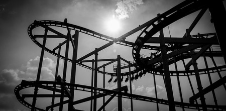 amusement park black and white: black and white roller coaster track in amusement park. Stock Photo