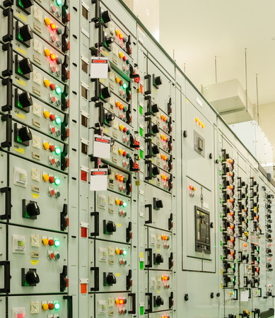 substation: electrical energy substation in a power plant. Stock Photo