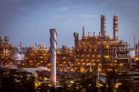 Petrochemical plant in twilight time glow light
