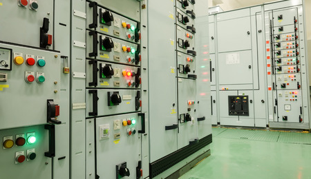 power distribution: electrical energy substation in a power plant. Stock Photo