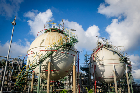 pipeline: Two sphere gas storages in petrochemical plant Stock Photo
