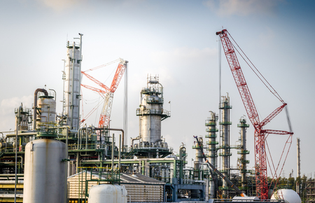 power plant: crane maintenance petrochemical plant Stock Photo