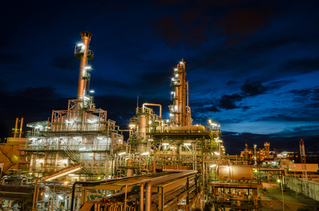night light petrochemical plant at twilight Stock Photo
