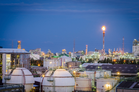 Gas storage tanks and petrochemical plant at morning time