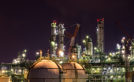 petrochemical: night light in petrochemical plant