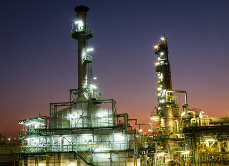 petrochemical plant: incinerator waste gas in petrochemical plant at twilight time Stock Photo