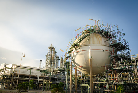 maintenance sphere gas storage in petrochemical plant Stock Photo