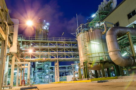 storage tank in petrochemical plant at twilight Stock Photo