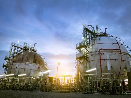 two sphere storage gas tanks  at dawn,sunrise Stock Photo