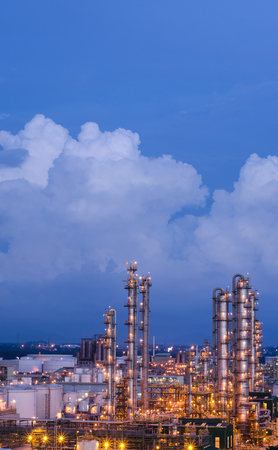 petrochemical plant at twilight with blue sky, oil refinery plant at twilight with blue sky