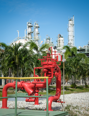 the red hydrant monitor stand for petrochemical plant emergency Stock Photo