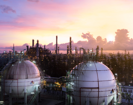 Gas storage spheres tank in petrochemical plant at dawn,Sunrise petrochemical plant