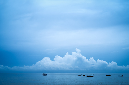 Beautiful landscape with boats blue sea  and blue sky background
