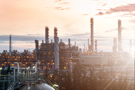 Oil Refinery  industrial with beautiful sun ray,  petrochemical plant
