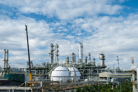 Petrochemical plant.Oil refinery plant during maintenances and services activity.