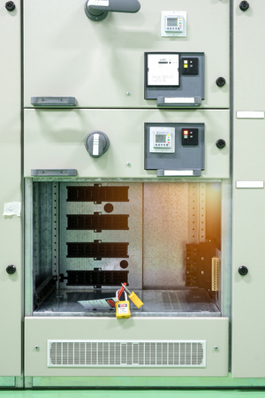 equipment of electrical switchgear panel take off for maintenance shutdown., key lock switch gear for isolate system.