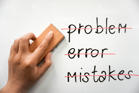 concept to overcome problem, error, and mistake with whiteboard eraser Banco de Imagens