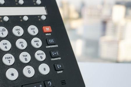 tele up: Close up IP phone and numeric keypad