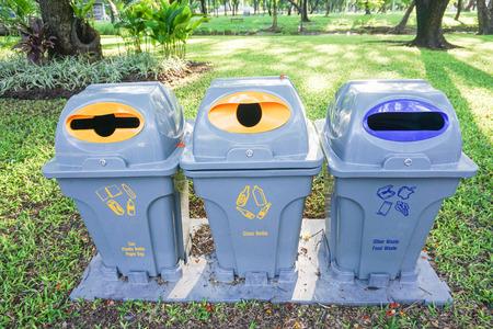 sorting: Creative bins of waste sorting in the park