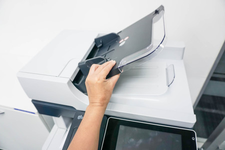 xerox: open the automatic document feeder of the printer Stock Photo