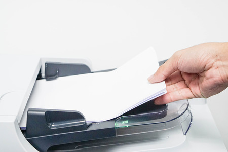 Print and scan the business document by human hand