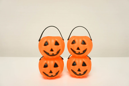 two stacks of glow Jack-O-Lantern pumpkin Stock Photo