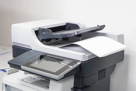 close up paper sheets on the printer in office Standard-Bild