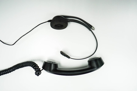 isolated headset with IP headphone Stock Photo