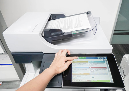 businesswoman start copy business documents on screen