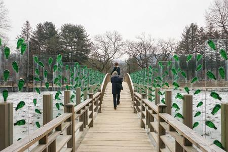 couple winter: couple cross wooden bridge in winter Stock Photo