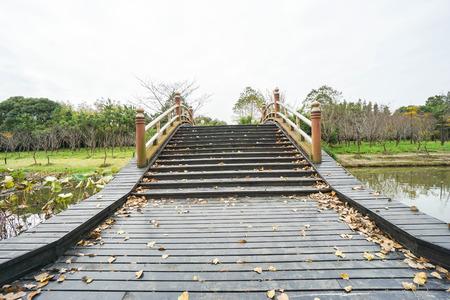 wooden bridge across river in park
