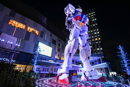 Gundam model landmark of Odaiba shopping center taken in Tokyo Japan on 2 December 2016