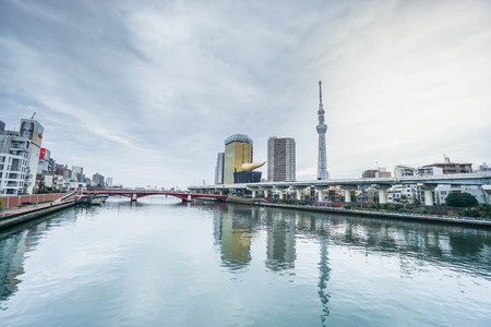 landscape at Tokyo Sky Tree and Asahi beer hall in daylight taken on 6 December 2016
