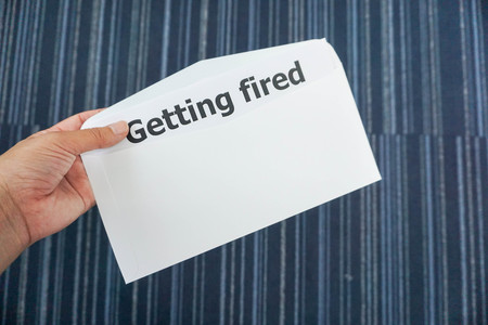 business concept - fire the employee in office