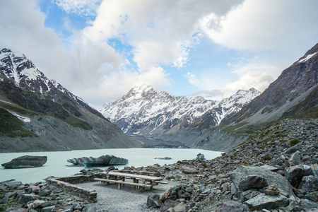 tip of iceberg with floating ices on blue lake in Mount Cook New Zealand Stock Photo